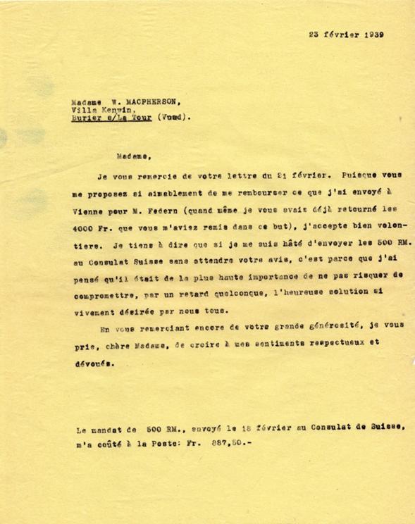 Copie Carbone de la lettre d'Henri Flournoy à Winnifred Macpherson