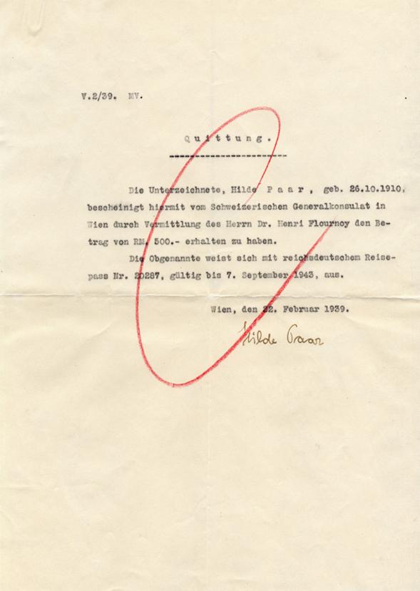 Lettre avec quittance du Consulat général suisse à Henri Flournoy