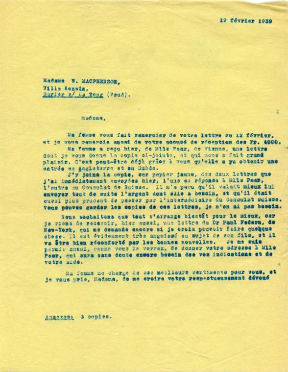 Copie carbone de lettre d'Henri Flournoy à Winnifred Macpherson