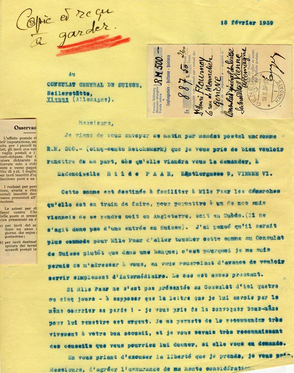 Copie carbone de la lettre d'Henri Flournoy au Consulat général de suisse à Vienne