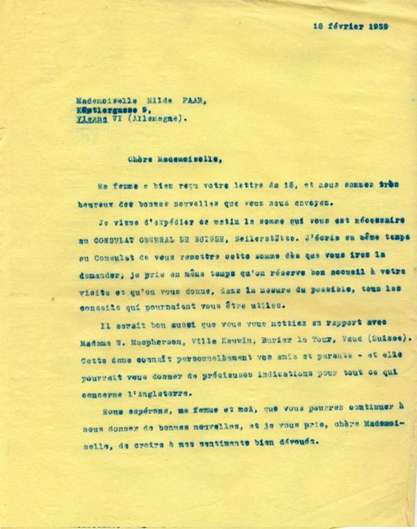 Copie carbone de la lettre d'Henri Flournoy à Hilde Paar