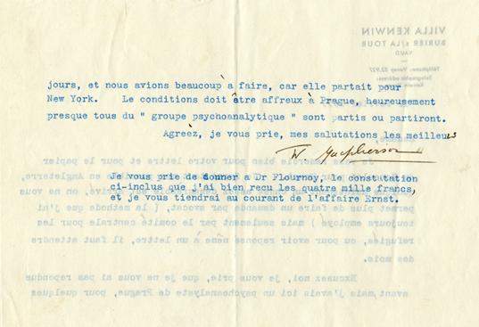 Lettre de Winnifred Macpherson à Elizabeth Flournoy,  avec reçu