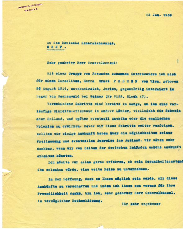 Copie carbone de lettre d'Henri Flournoy au Consul General d'Allemagne à Genève