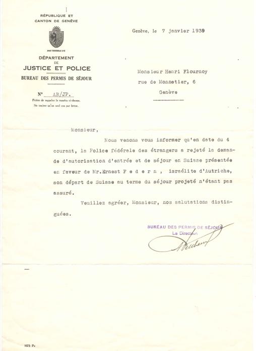 Lettre du Directeur du Bureau des permis de séjour à Henri Flournoy
