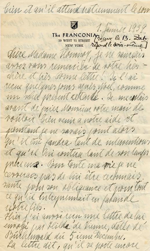 Lettre de Wilma Federn à Elizabeth Flournoy