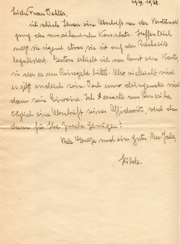Lettre de Hilde Paar  à Elisabeth Flournoy