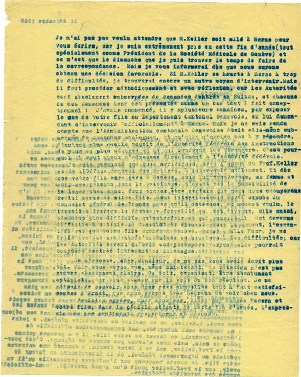 Copie carbone de lettre d'Henri Flournoy à Paul Federn