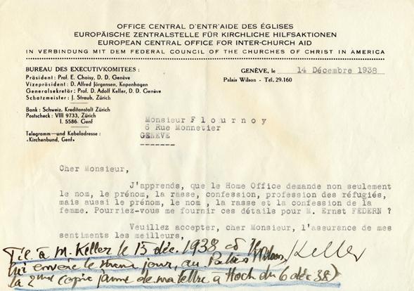 Lettre de M. Keller, Office central d'entraide des églises, à Henri Flournoy