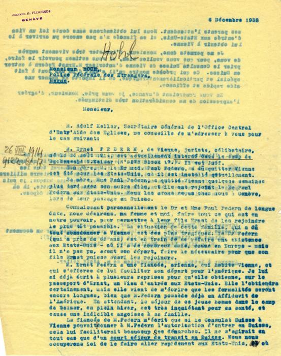 Copie carbone de la lettre d'Henri Flournoy à M. Hohl, Police des étrangers, Berne