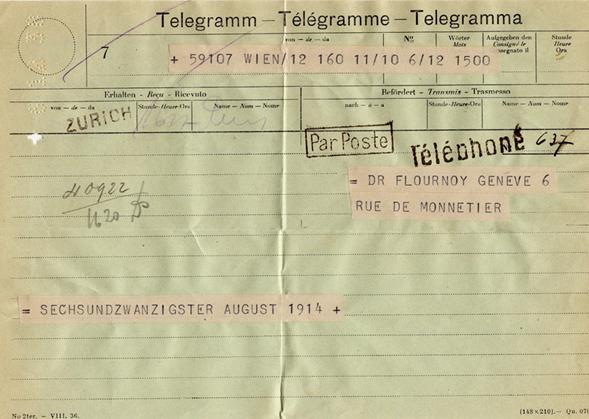 Télégramme de Hilde Paar à Henri Flournoy