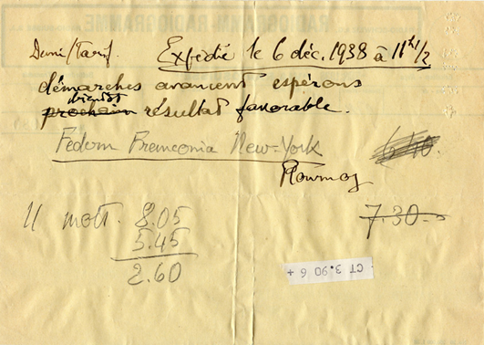 Radiogramme de Paul Federn à Henri Flournoy