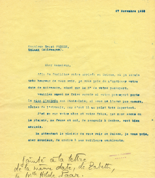 Lettre-invitation d'Henri Flournoy à Ernst Federn