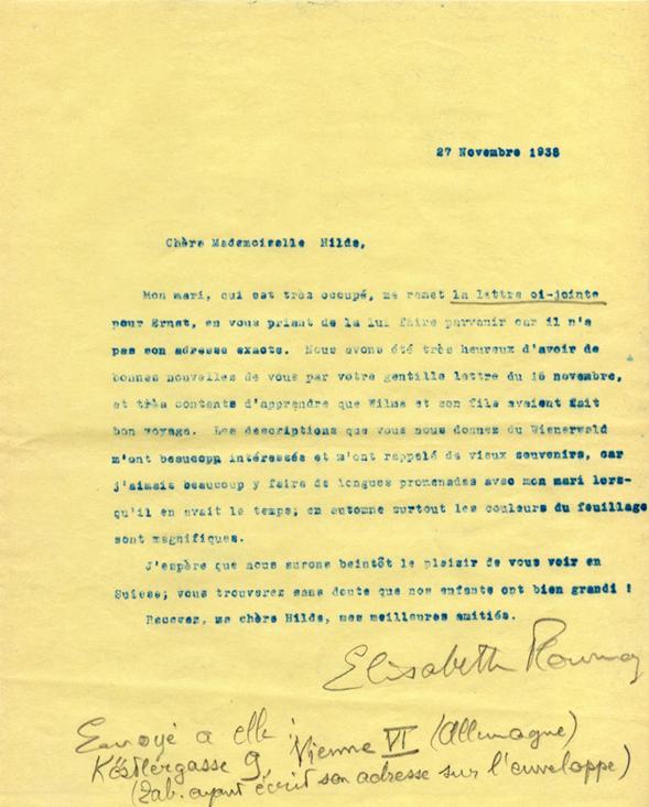 Lettre d'Elisabeth Flournoy à Hilde Paar
