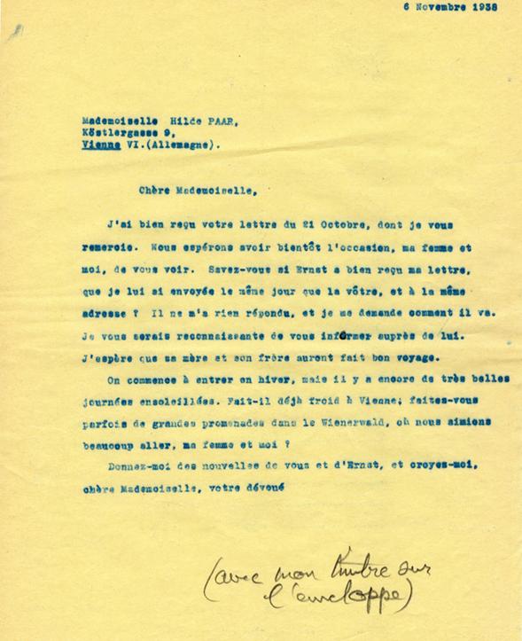 Copie carbone de la lettre de Henri Flournoy à Hilde Paar