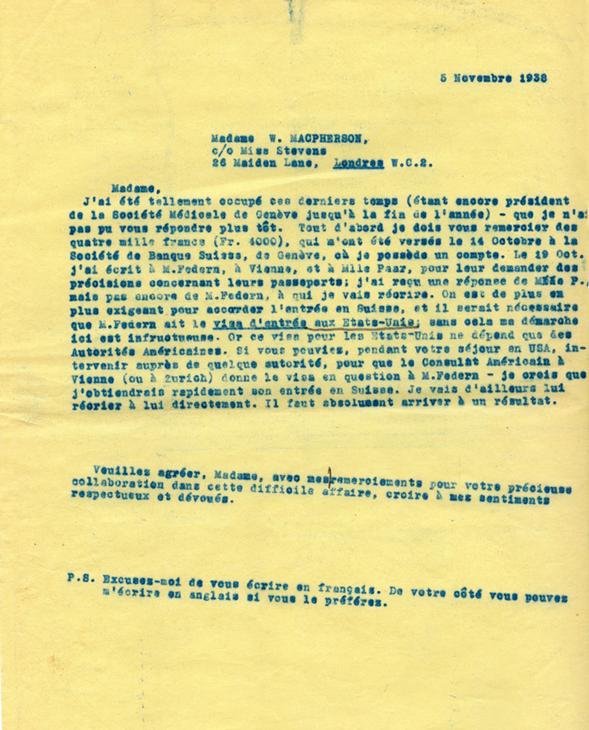 Copie carbone de la lettre de Henri Flournoy à Winnifred Macpherson