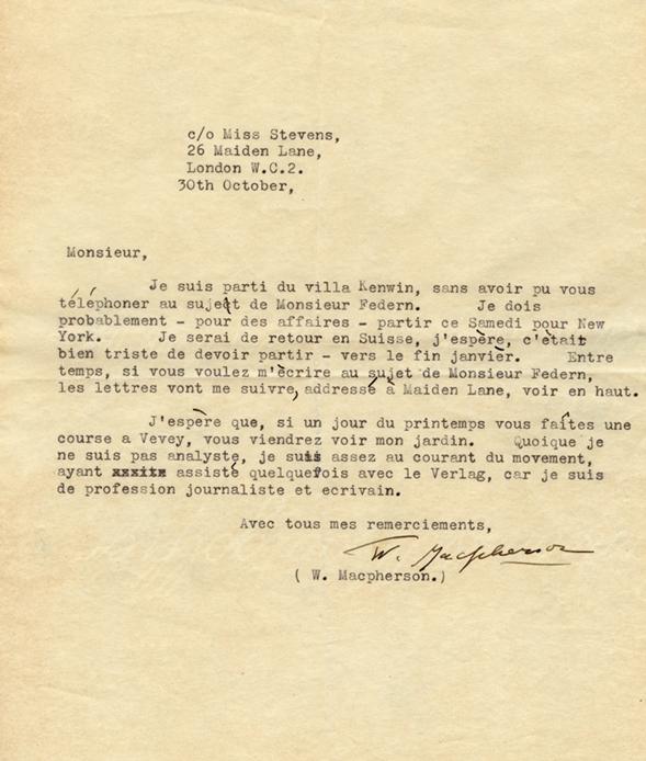 Lettre de Winnifred Macpherson à Henri Flournoy
