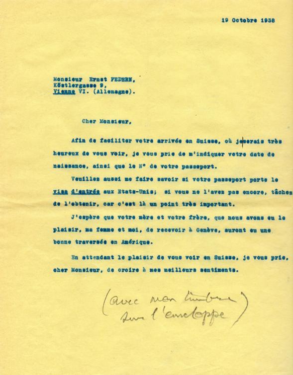 Copie carbone de la lettre de Henri Flournoy à Ernst Federn