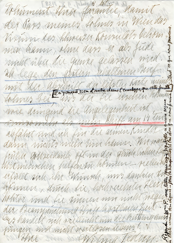 Lettre de Wilma Federn à Henri Flournoy