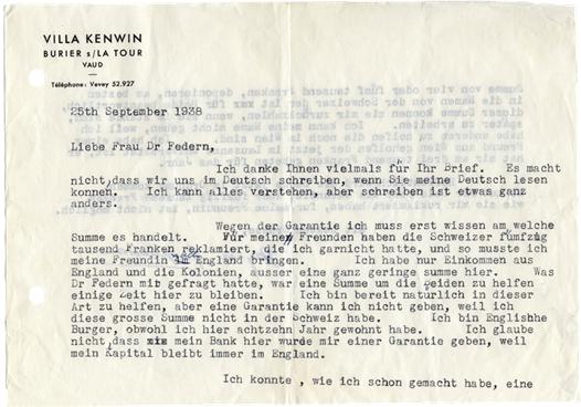 Lettre de Winnifred Macpherson à Wilma Federn