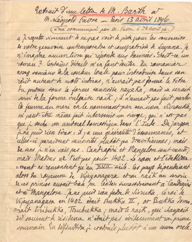 M. Barth a Léopold Favre