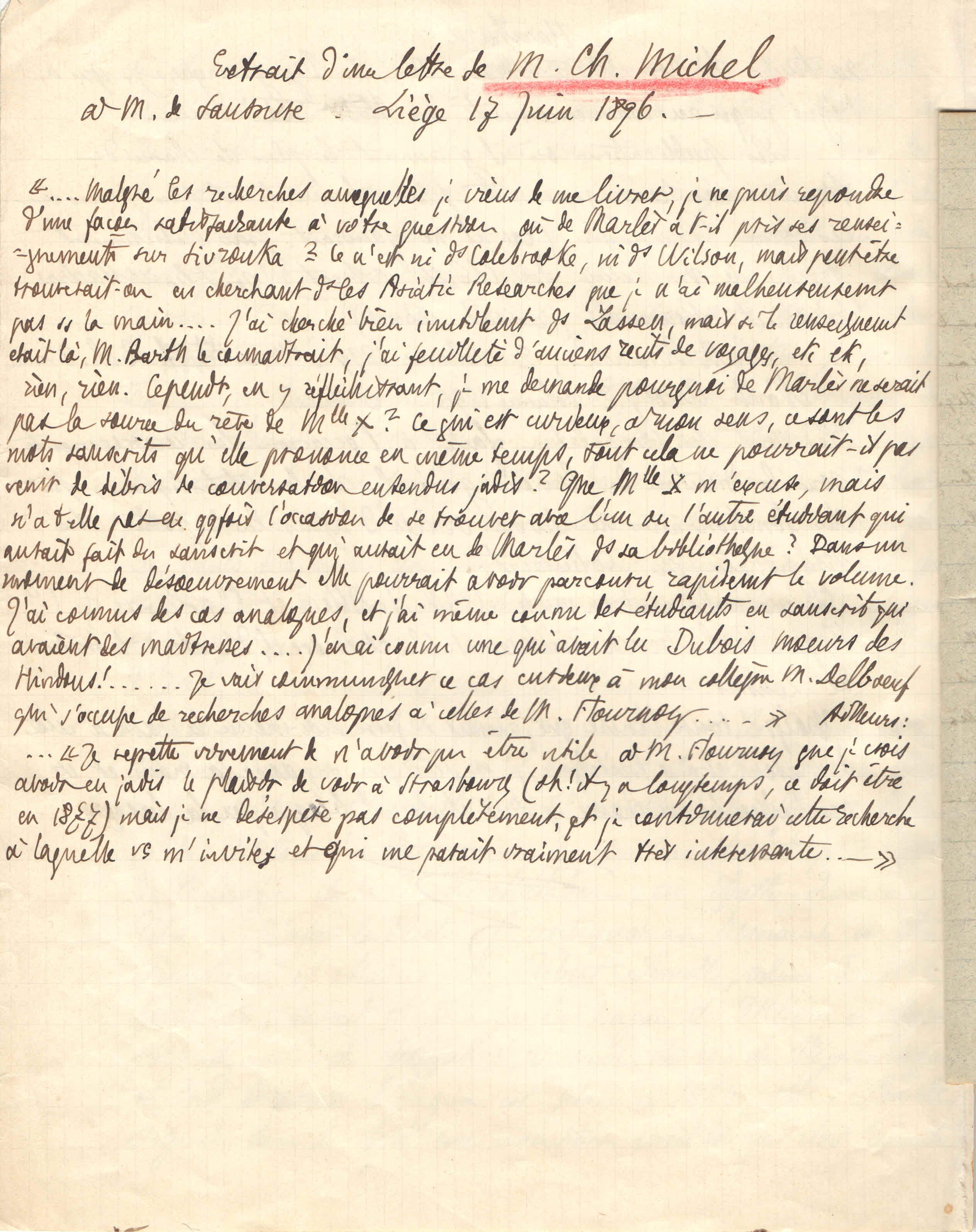 Courrier de  Michel Charles à F. De Saussure