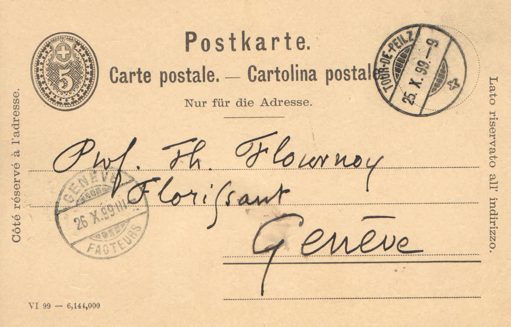 Carte de M.Auguste Glardon