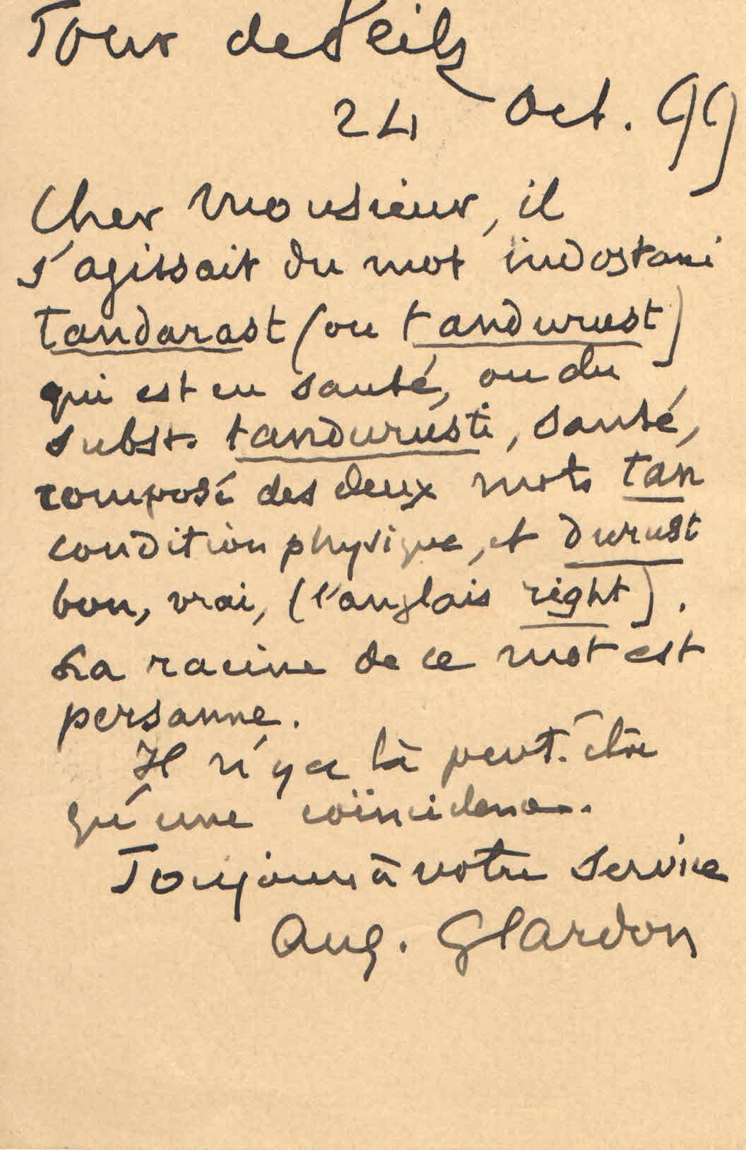 Carte de M. Auguste Glardon
