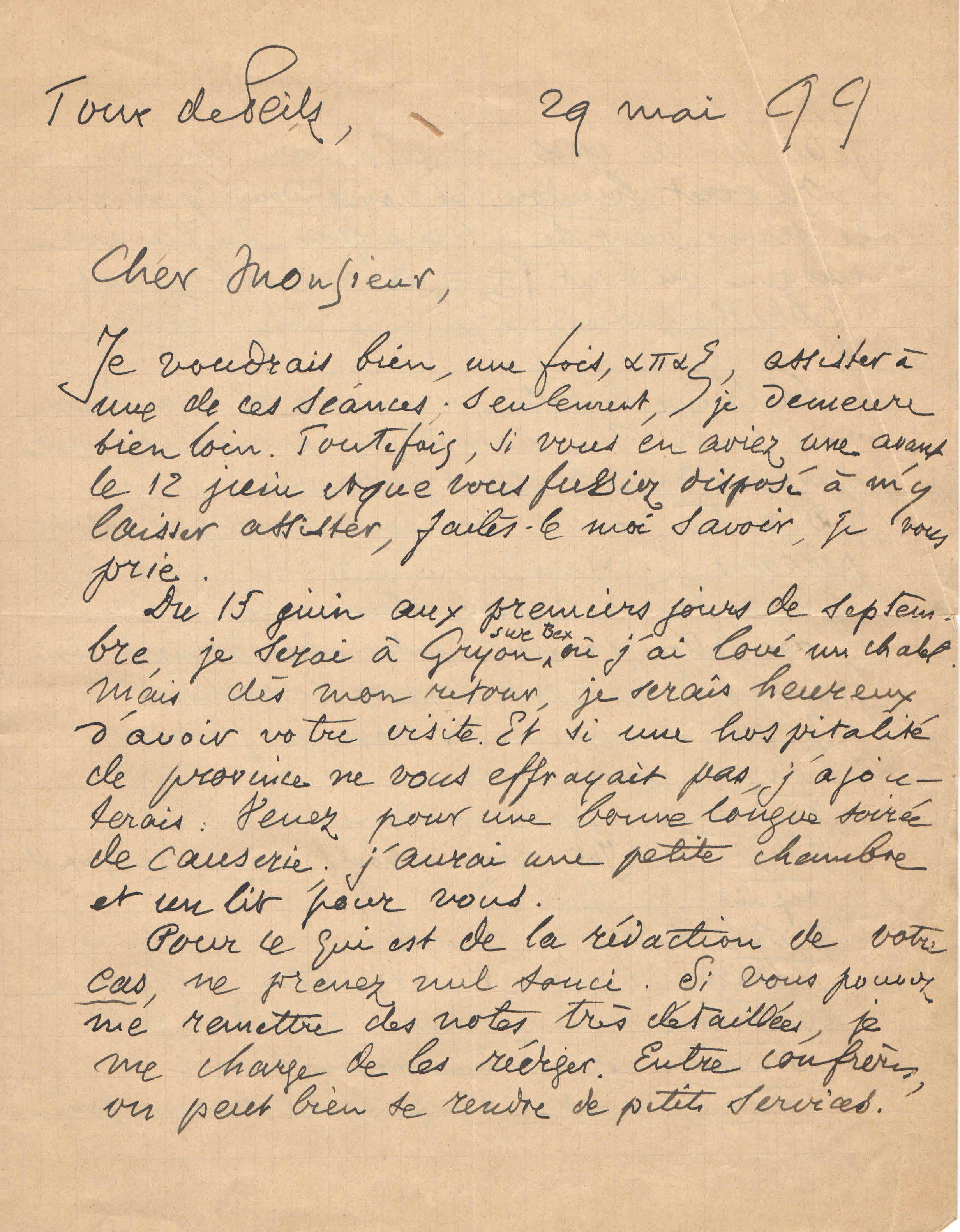 Lettre de M. Auguste Glardon