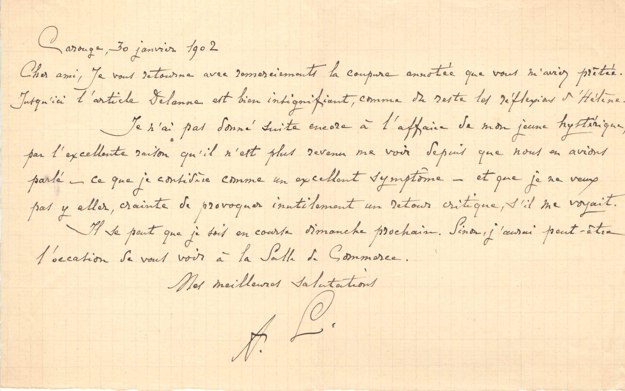 Lettre de Monsieur Lemaitre