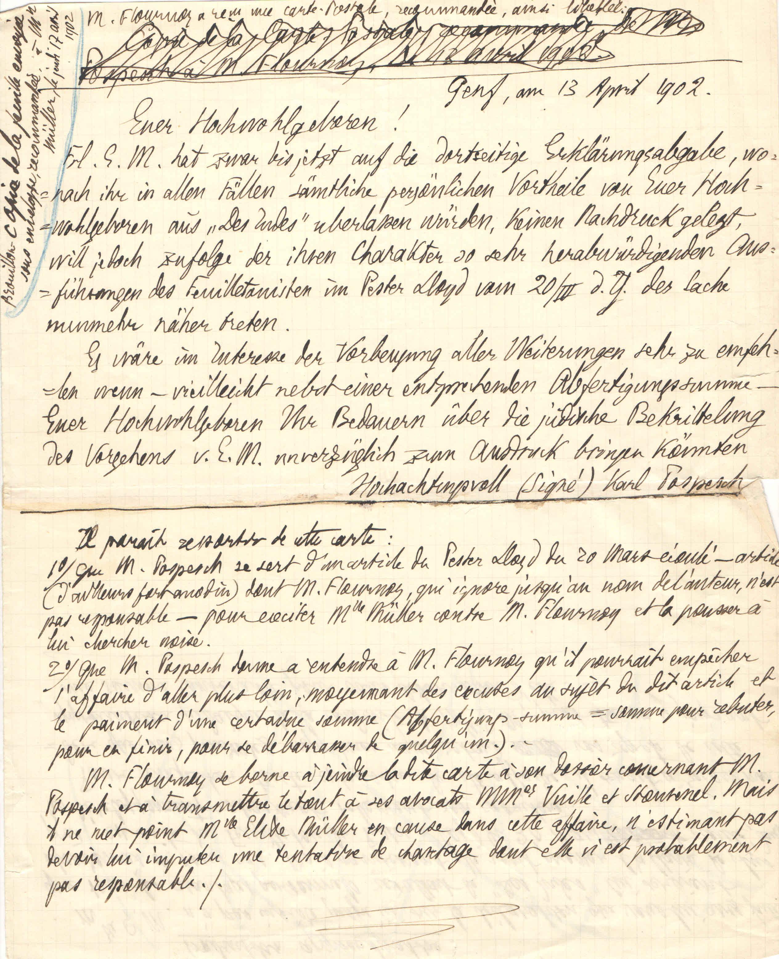 Lettre de Karl Propesch