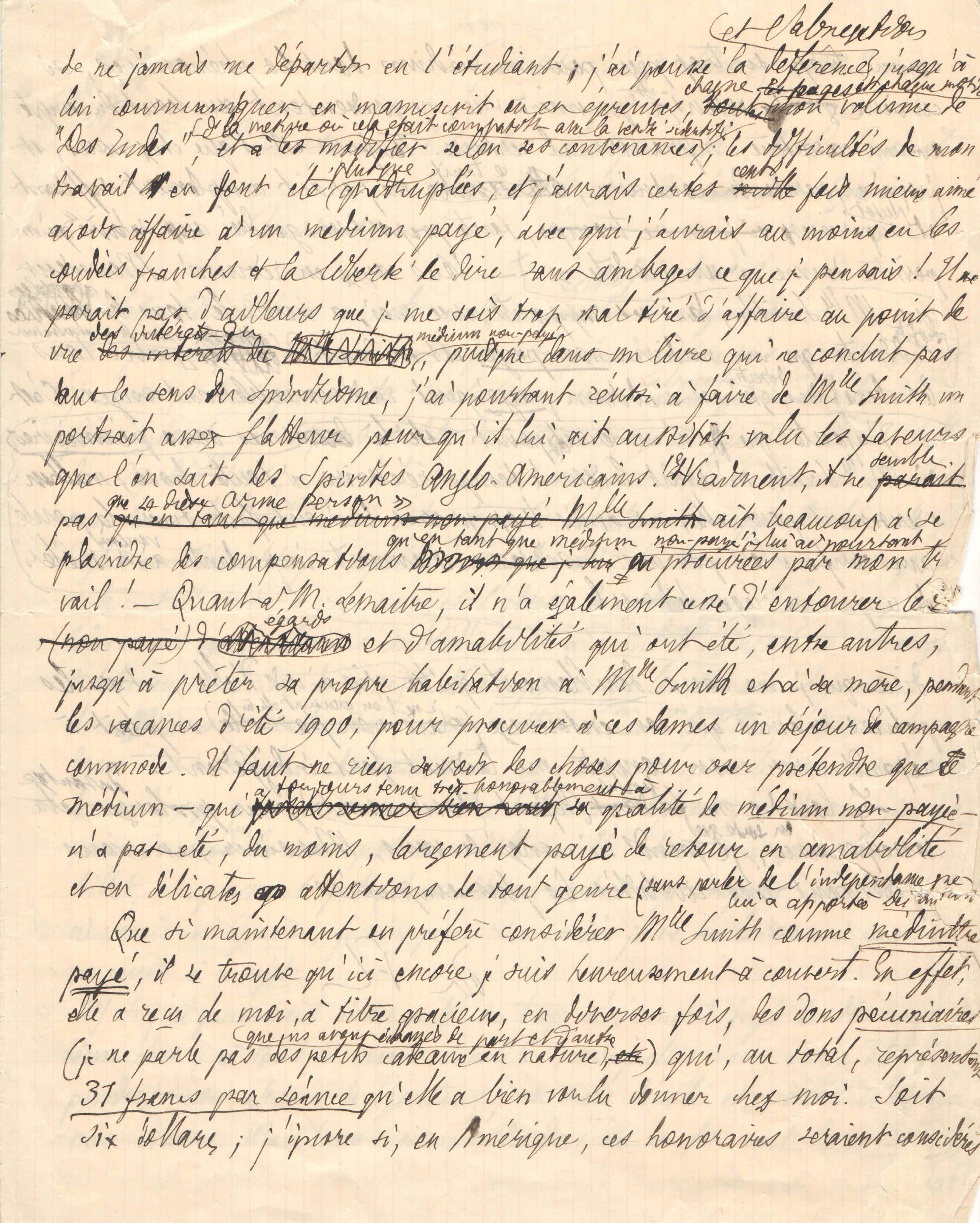 Brouillon de lettre de Théodore Flournoy à Karl Propesch