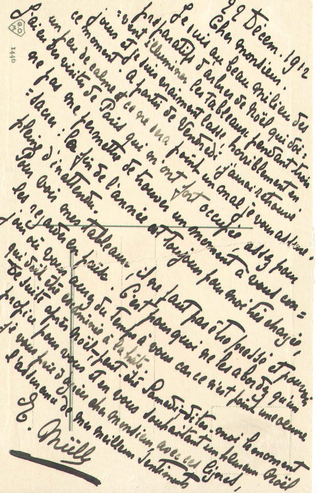 Elise à Théodore, le 22 décembre 19012