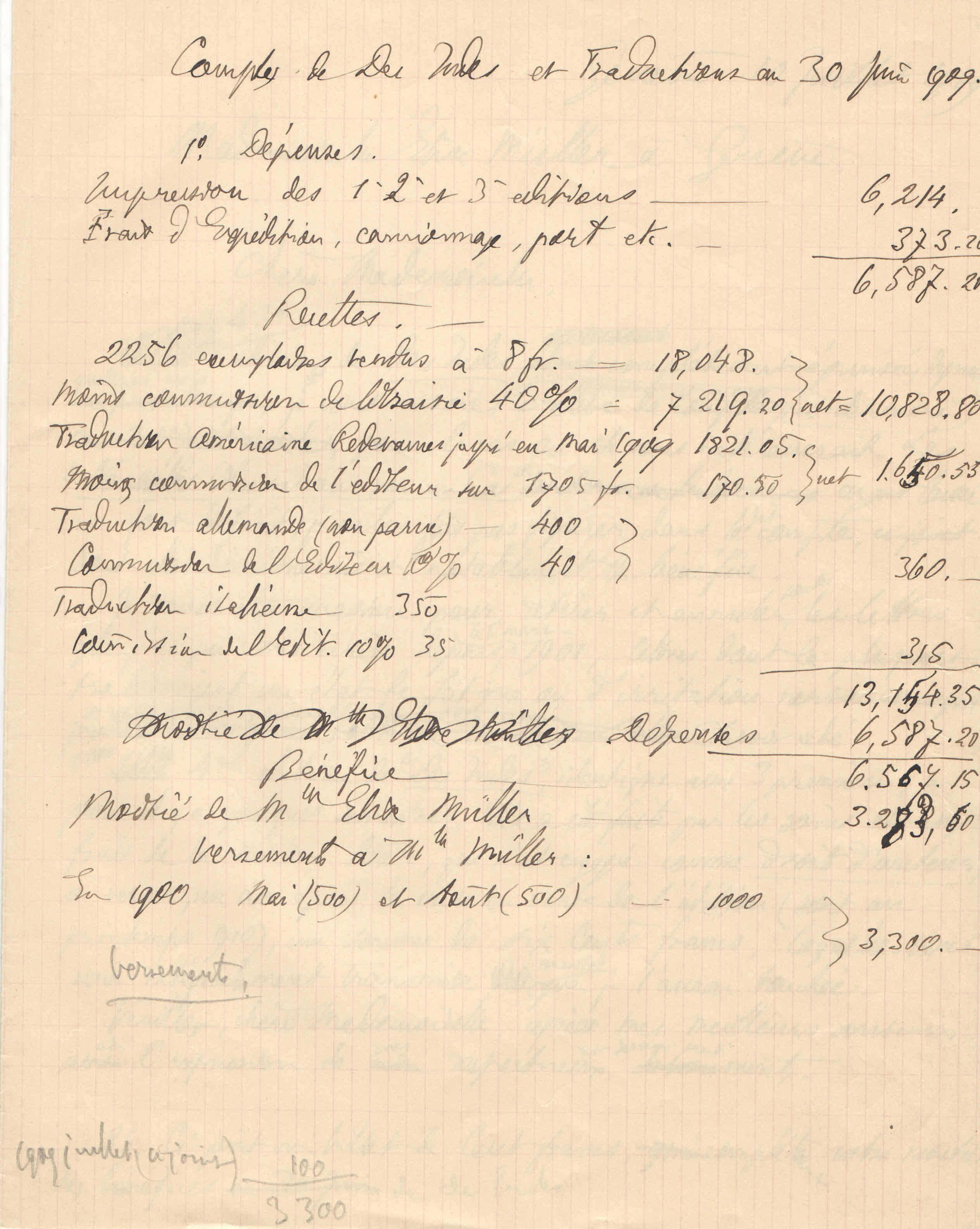 Théodore à Elise, le 10 juillet 1909