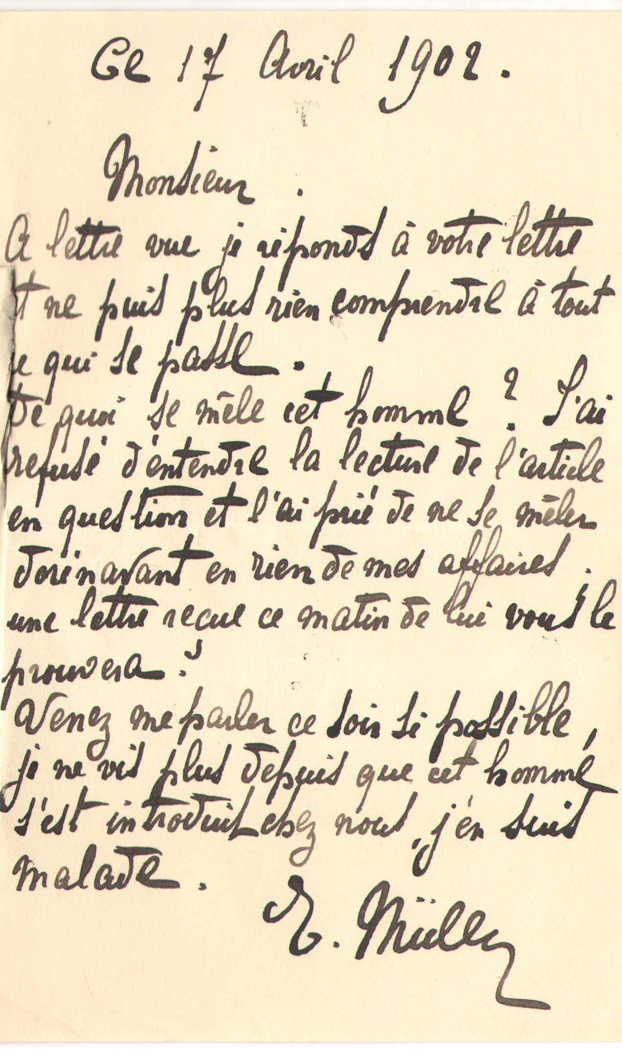 Elise à Théodore, le 17 avril 1902