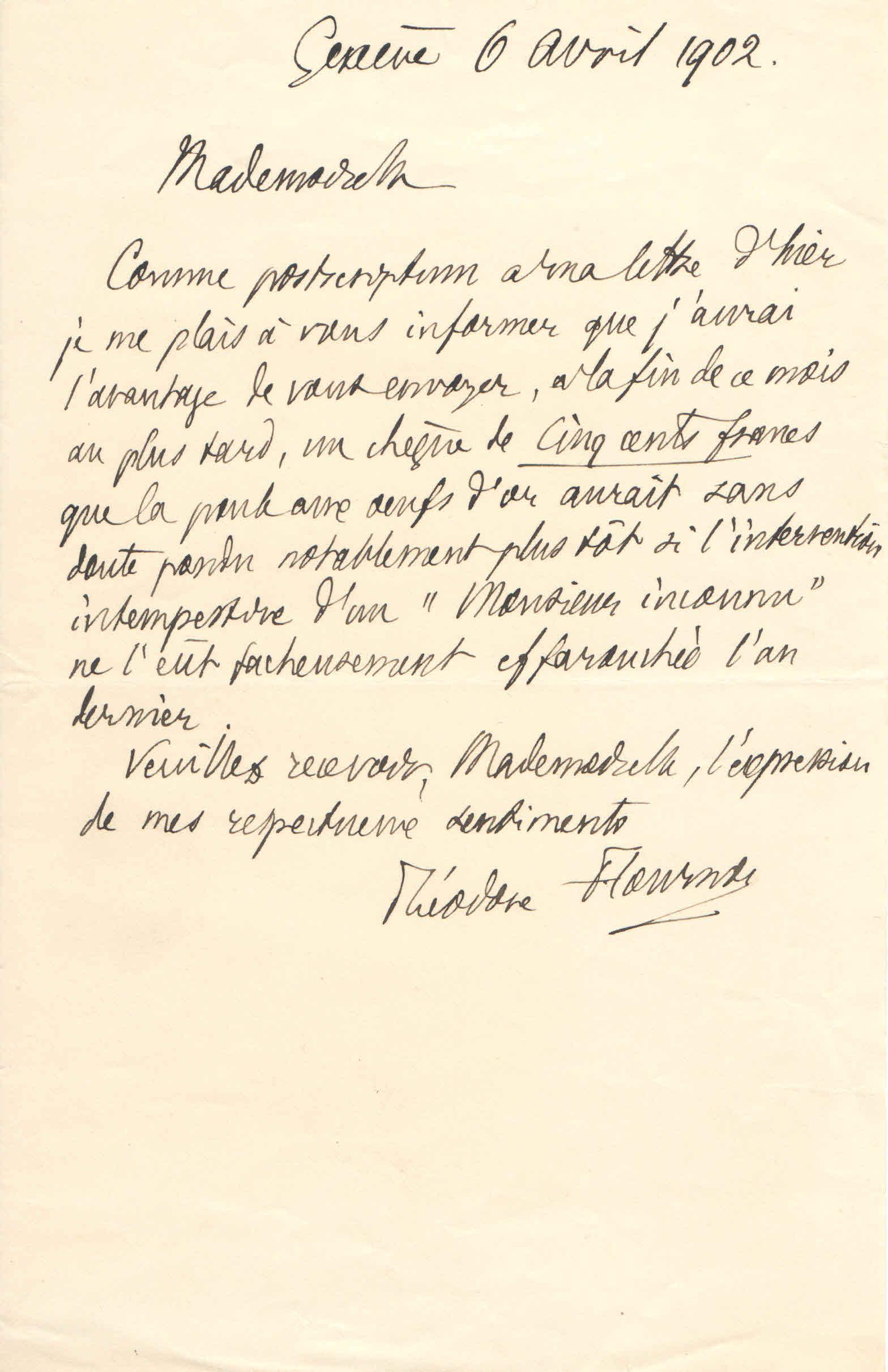 Théodore à Elise, le 6 avril 1902