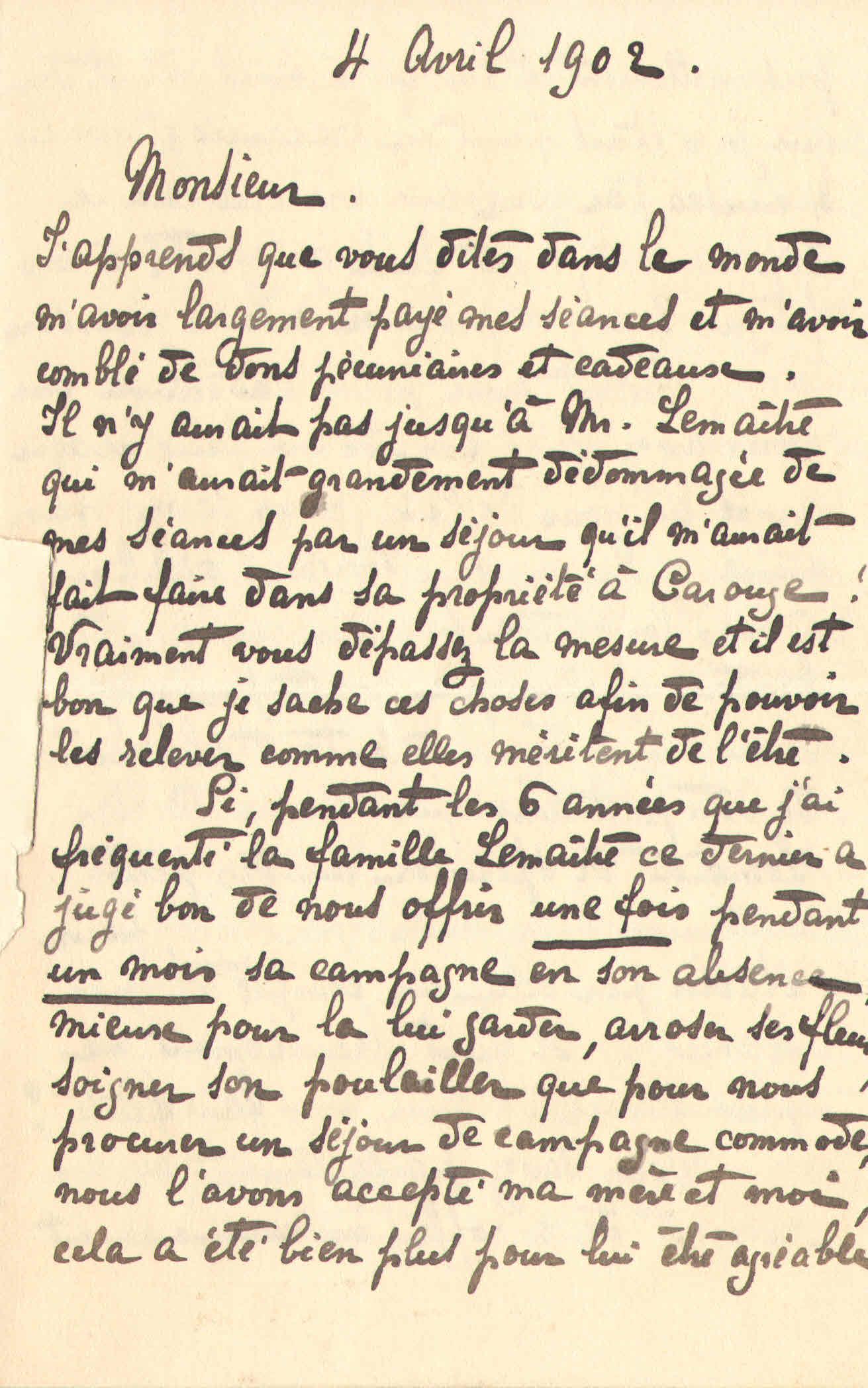 Elise à Théodore, le 4 avril 1902
