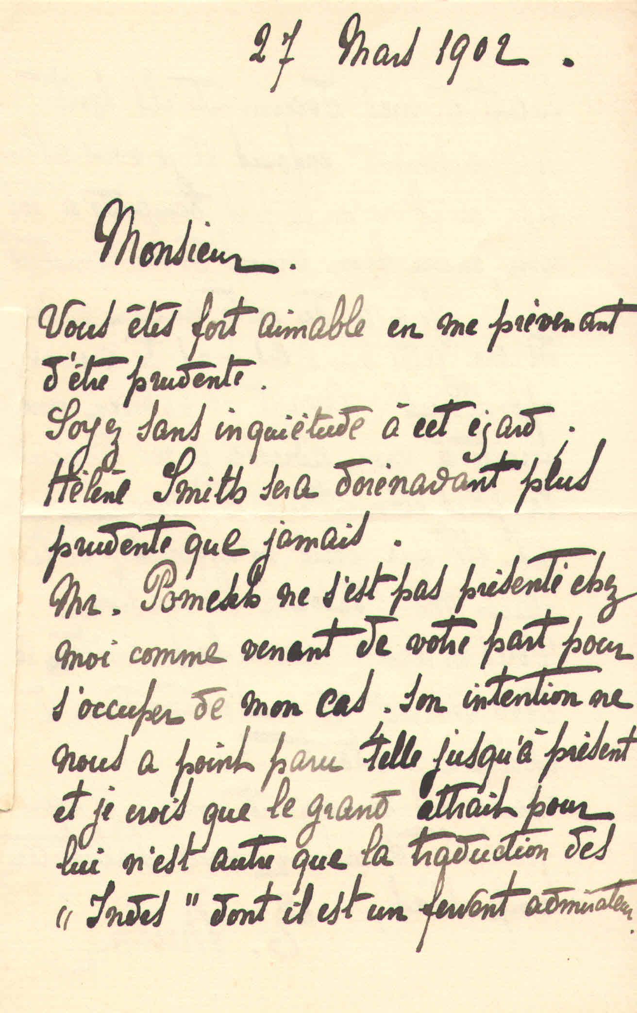 Elise à Théodore, le 27 mars 1902