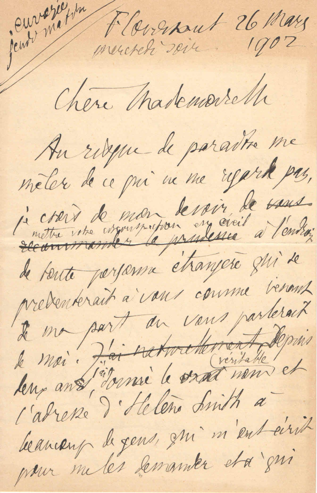 Théodore à Elise, le 26 mars 1902