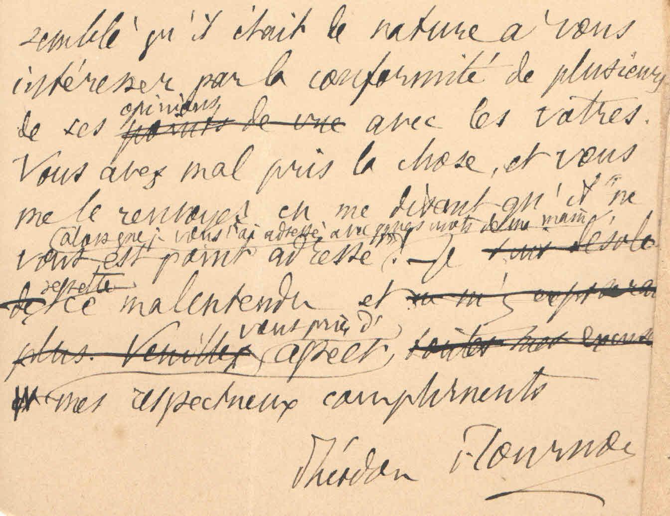 Théodore à Elise, le 25 janvier 1902