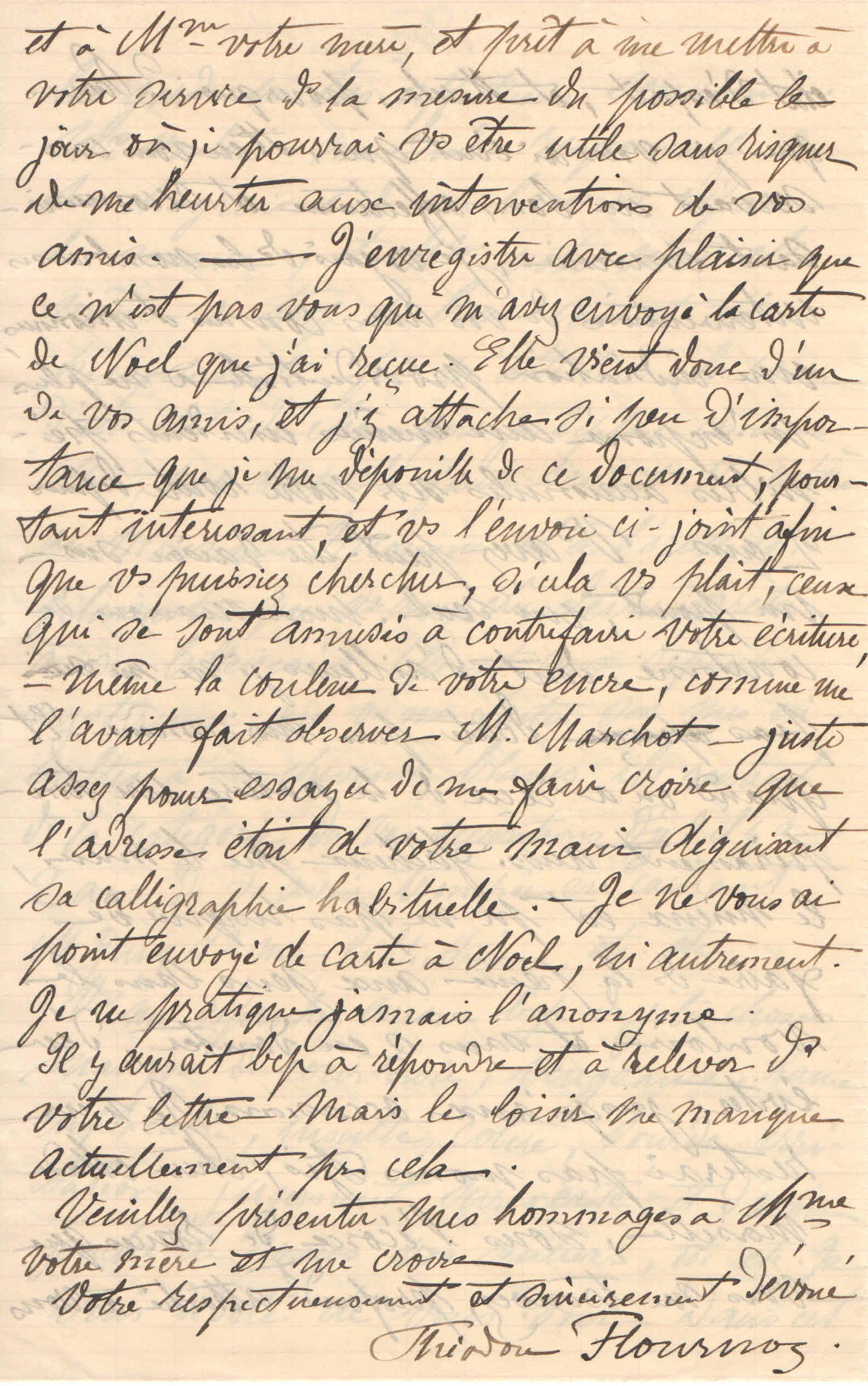 Théodore à Elise, le 12 janvier 1902