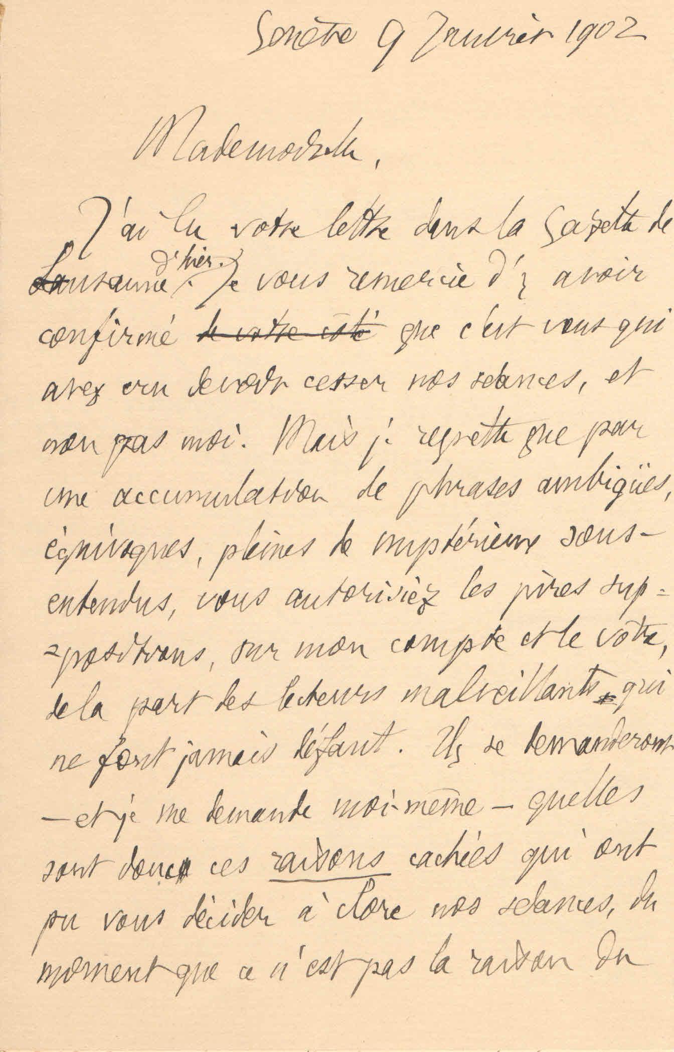 Théodore à Elise, le 9 janvier 1902