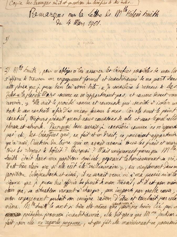 Théodore à Elise, le 5 mars 1901