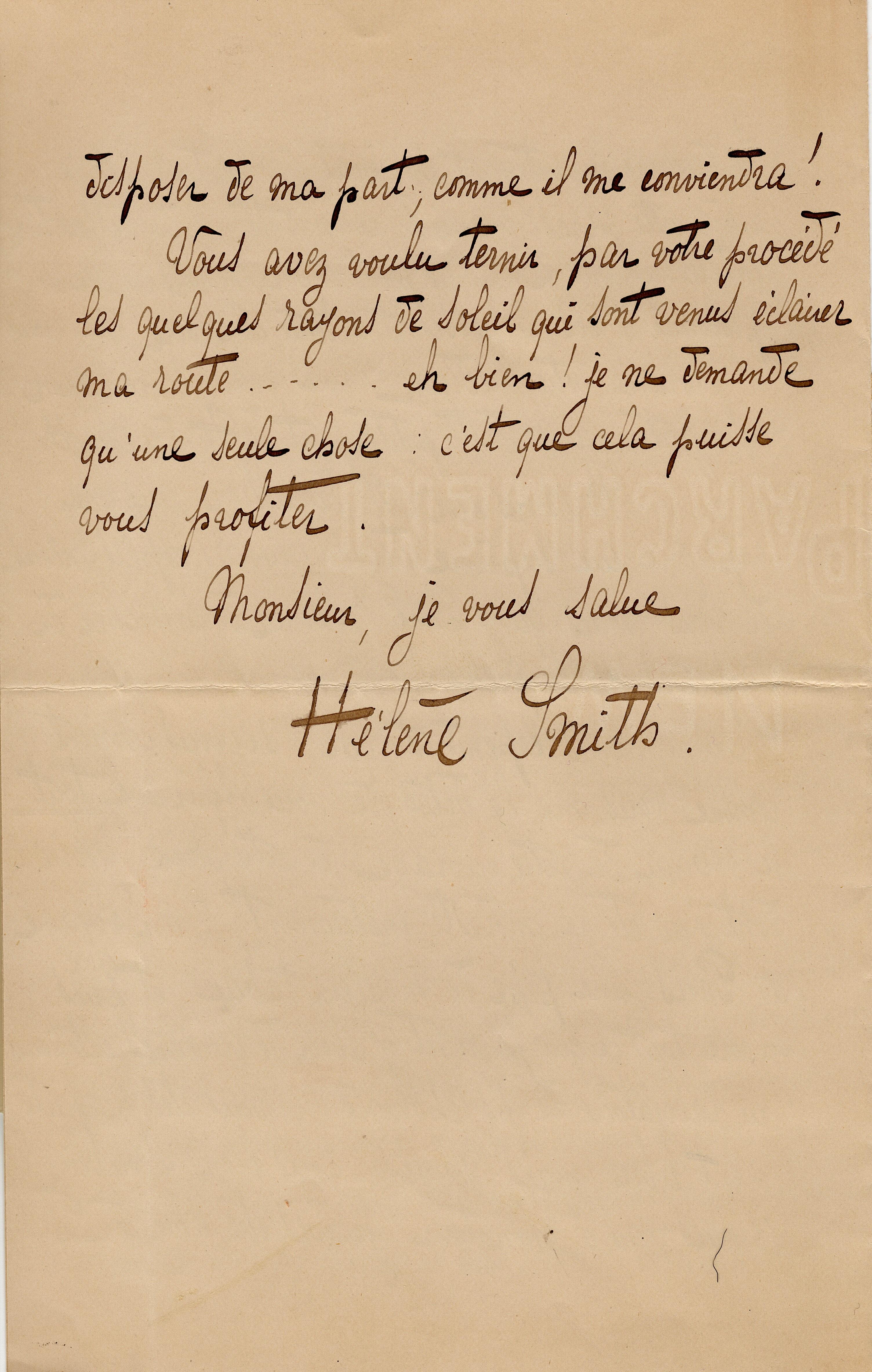 Elise à Théodore : le 4 mars 1901